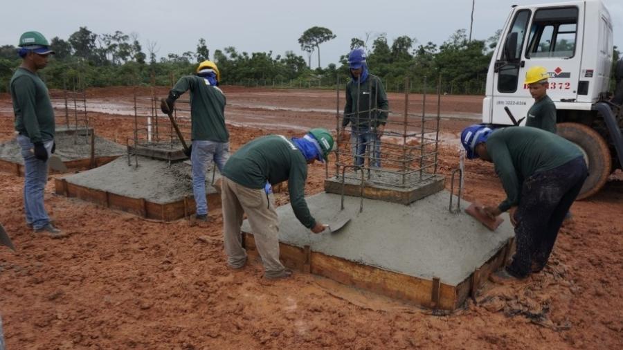 Obra do centro de treinamento que está sendo construido em Rondônia com o dinheiro do legado da Copa do Mundo de 2014 - Divulgação/CBF