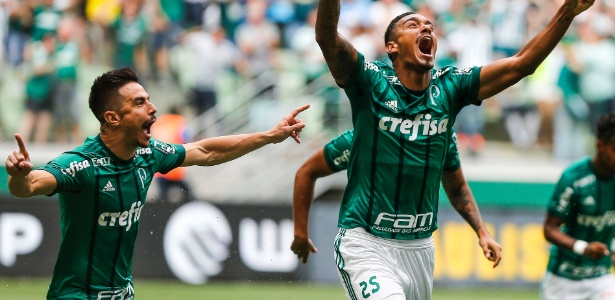 Antônio Carlos comemora primeiro gol do Palmeiras contra o Santos