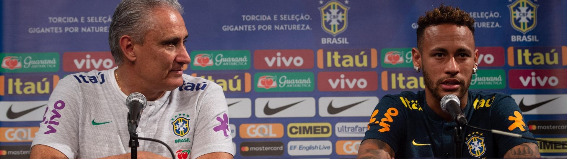 Neymar e Tite concedem entrevista coletiva em Nova Jersey