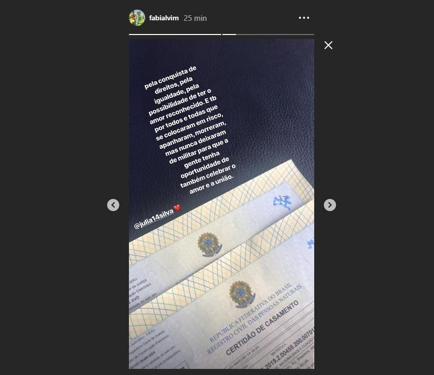 Fabi posta foto da certidão de casamento com Julia