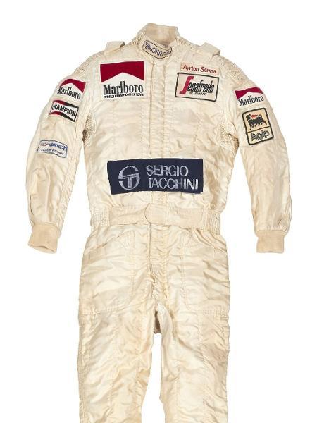 Macação de Senna usado na primeira temporada na F-1, pela Toleman - Reprodução