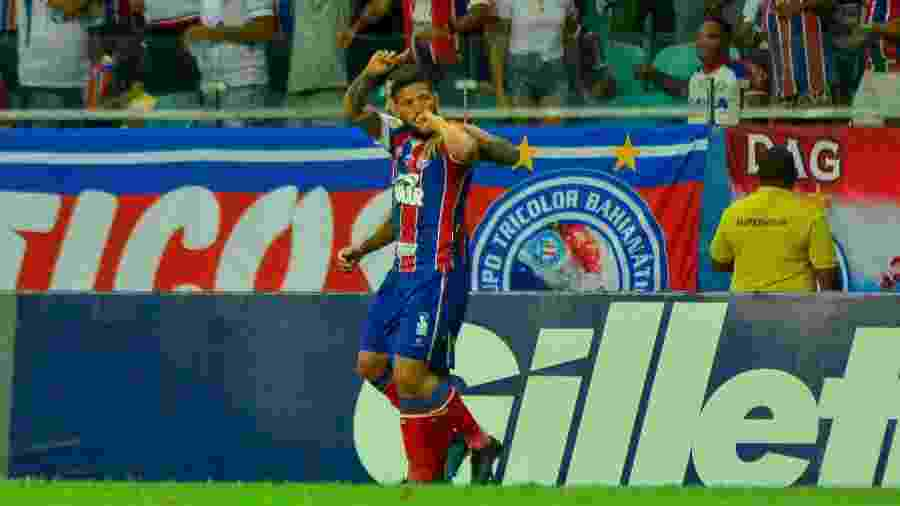 Arthur Caíke comemora gol do Bahia contra o CSA - Jhony Pinho/AGIF