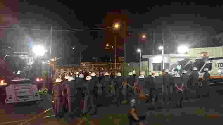 Policiamento foi reforçado no portão do Morumbi onde ocorreu o protesto - Leandro Miranda/UOL