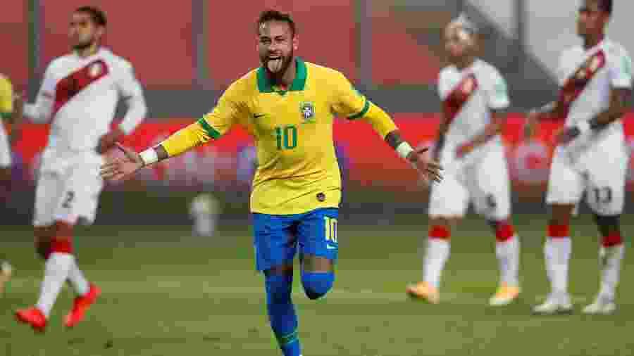 Neymar comemora gol do Brasil contra o Peru, pelas Eliminatórias da Copa do Mundo de 2022 - Paolo Aguilar/Pool via REUTERS