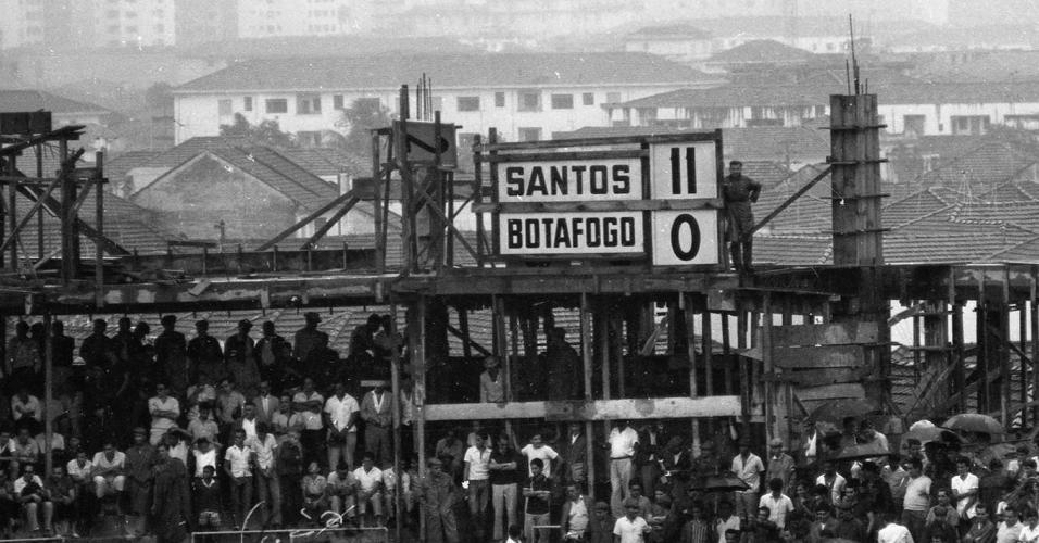 Placar mostra o resultado do jogo: Santos 11 x 0 Botafoto-SP em 21/11/64