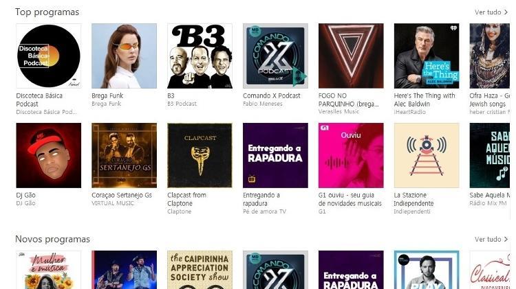 Top programas da Apple Podcasts, com o B3, do Benja, entre os primeiros colocados - Reprodução/Apple Podcasts - Reprodução/Apple Podcasts