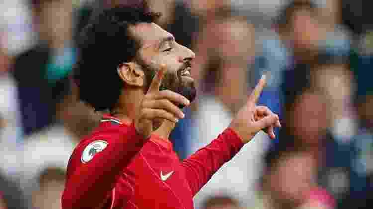Mohamed Salah, do Liverpool, comemora seu centésimo gol no Campeonato Inglês - Lee Smith/Reuters - Lee Smith/Reuters