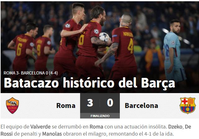 O jornal espanhol As destacou a queda histórica do clube catalão