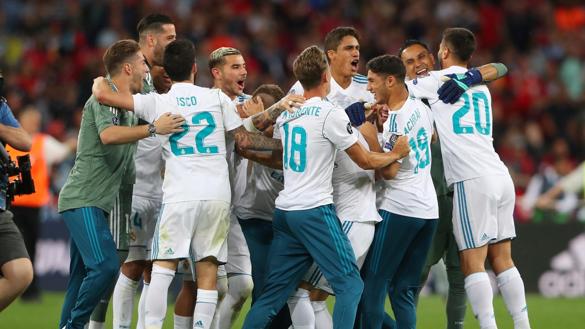 Jogadores do Real Madrid comemoram título da Liga dos Campeões