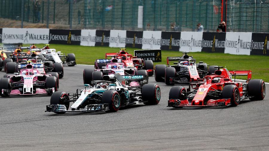 Lewis Hamilton foi ultrapassado por Vettel no GP da Bélgica - FRANCOIS LENOIR/REUTERS