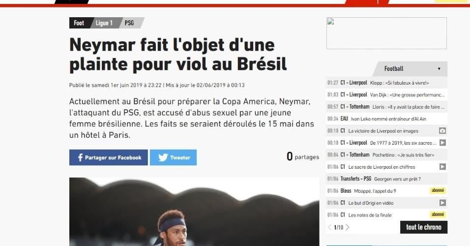 Como jornais repercutiram acusação a Neymar - L'Equipe