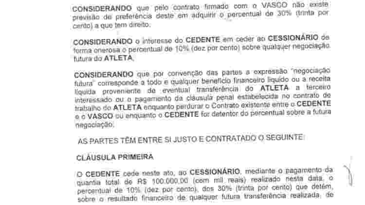 Trecho do contrato que, supostamente, seria o de cessão dos 10% de Marrony - Divulgação - Divulgação