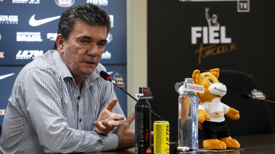 Andrés Sanchez, presidente do Corinthians, durante coletiva - Rodrigo Gazzanel / Agência Corinthians
