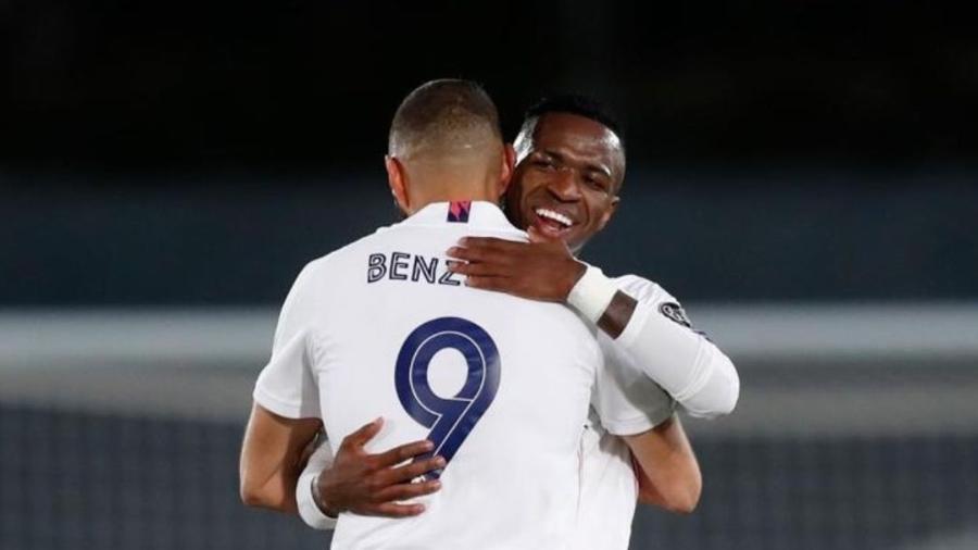 Vinicius Jr. e Benzema, atacantes do Real Madrid - Reprodução/Instagram @vinijr