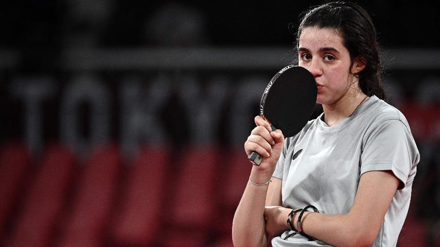 Hend Zaza reage durante jogo contra Hend Zaza nas Olimpíadas de Tóquio - Anne-Christine Poujoulat/AFP