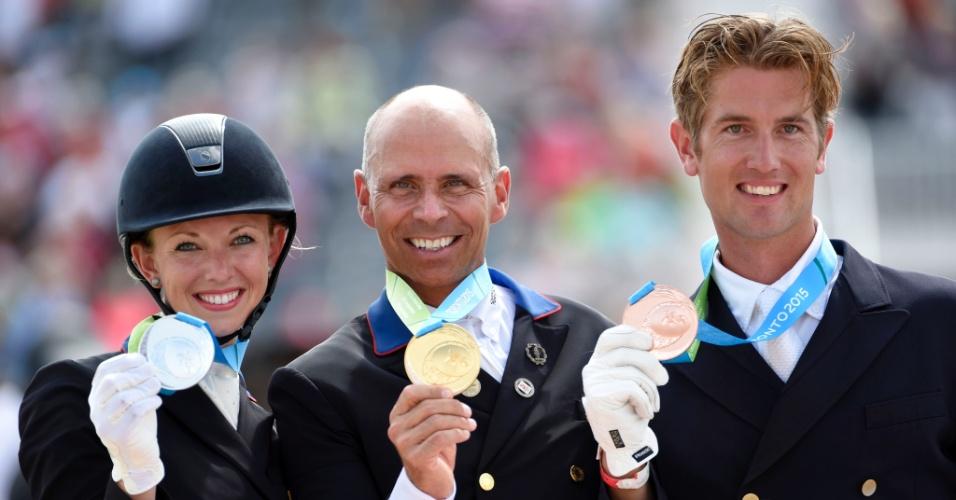 Norte-americano Steffen Peters ficou com a medalha de ouro no adestramento livre, seguido pela compatriota Laura Graves e o canadense Christopher Von Martels