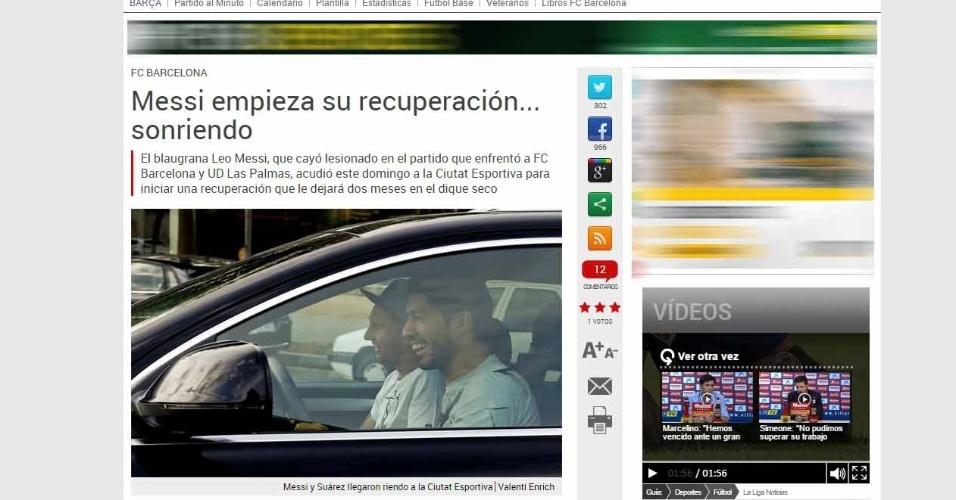 Jornal Sport mostra Messi chegando a treino de carona com Luis Suárez após machucar joelho
