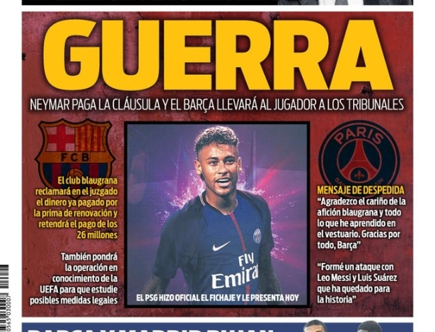 Jornal catalão diz que Barcelona entrará em 'guerra' com Neymar