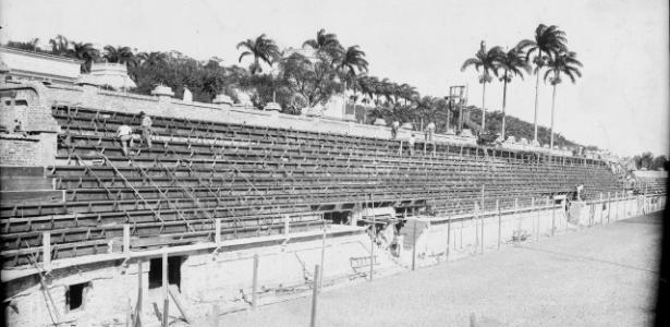 Obras de construção do estádio das Laranjeiras, casa do Fluminense