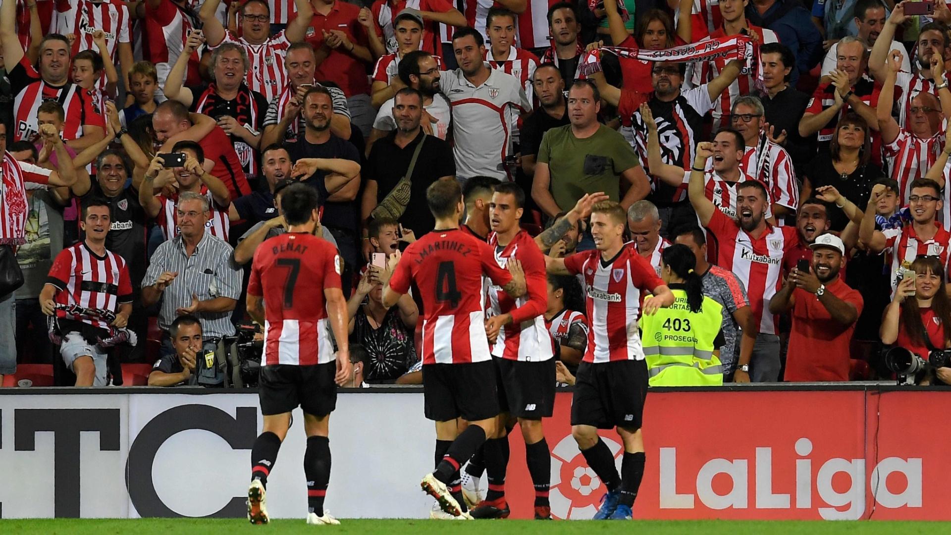 Muniain (dir.) marcou pelo Athletic Bilbao contra o Real Madrid