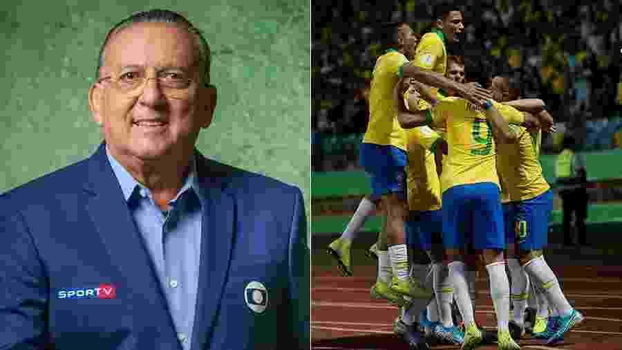 O narrador Galvão Bueno foi ao Instagram para homenagear os jogadores da seleção brasileira sub-17 - Divulgação/Globo e Divulgação/CBF
