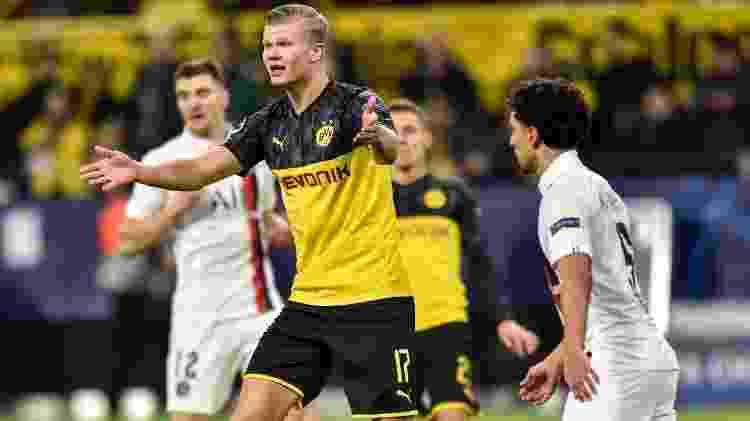 Haaland em ação pelo Borussia Dortmund contra o PSG pela Champions League  - PressFocus/MB Media  - PressFocus/MB Media