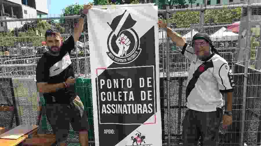 """Integrantes do grupo """"Guardiões da Colina"""" recolheram assinaturas de sócios do Vasco por eleições diretas via Código Civil  - Bruno Braz / UOL Esporte"""