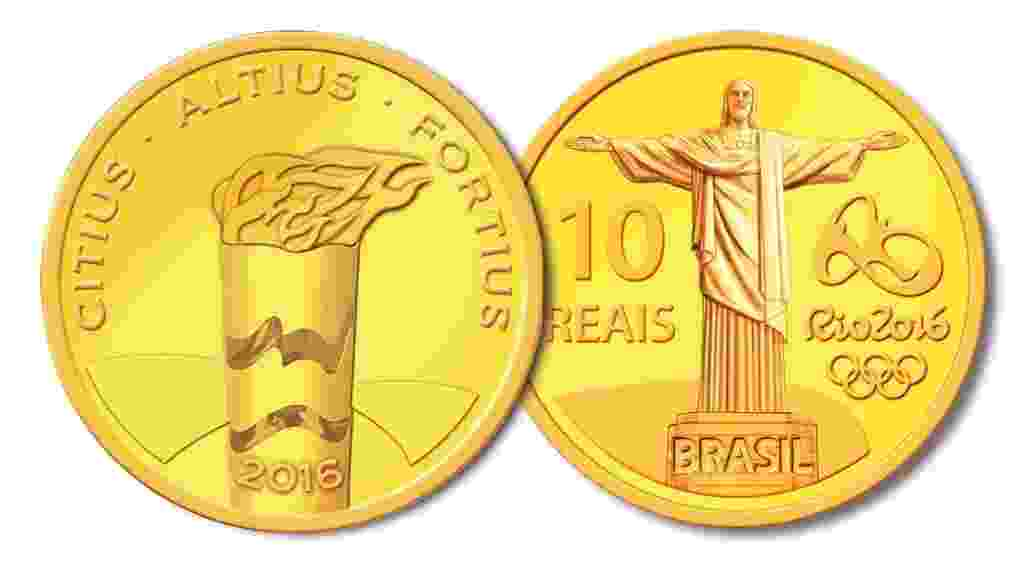 Moeda comemorativa da Olimpíada de 2016 traz Tocha Olímpica e Cristo Redentor - Divulgação/Banco Central