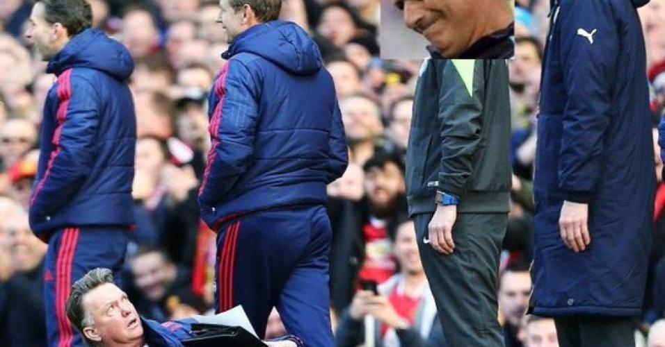 """Técnico Louis van Gaal se jogou no chão para reclamar de """"teatro"""" de jogadores do Arsenal. A internet não perdoou. Veja os memes"""