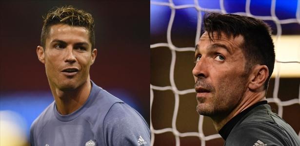 O atacante Cristiano Ronaldo, do Real Madrid, e o goleiro Buffon, da Juventus