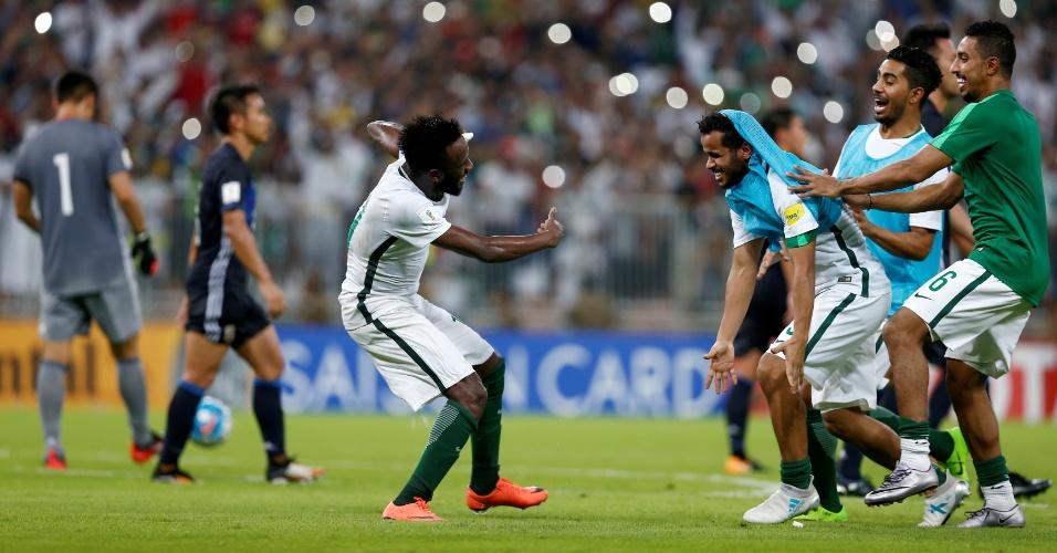 Jogadores da Arábia Saudita comemoram classificação para a Copa