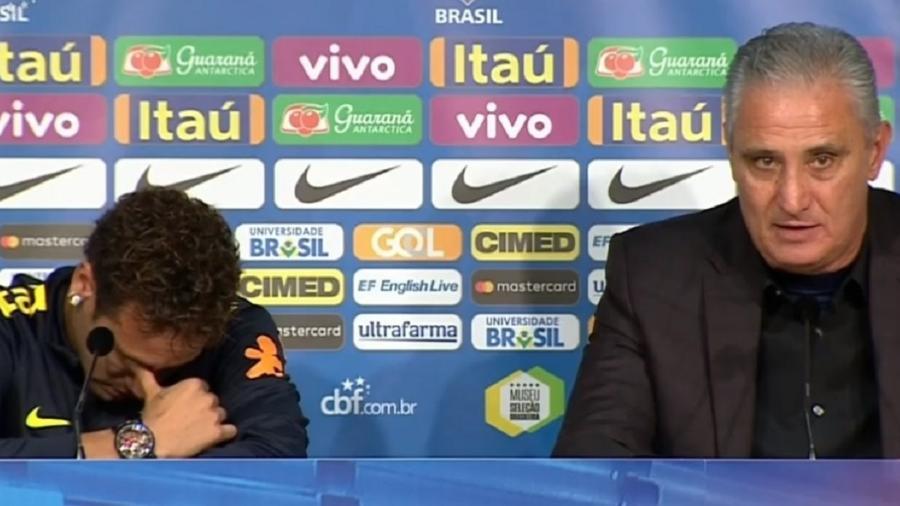 Neymar fica emocionado e recebe abraço de Tite - Reprodução/SporTV