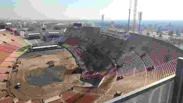 O início das reformas no Los Angeles Memorial Coliseum, em janeiro de 2018 - Divulgação/lacoliseum.com