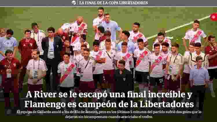 Clarín destaca a superioridade do River em manchete - Reprodução/clarin.com.ar - Reprodução/clarin.com.ar
