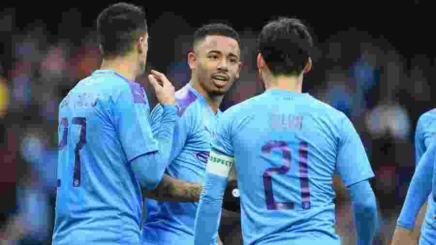 Gabriel Jesus comemora gol sobre o Fulham pela Copa da Inglaterra  - Lindsey Parnaby / AFP