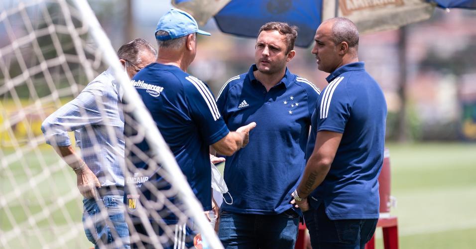 André Mazzuco e Felipão estiveram juntos pela primeira vez no último domingo, durante treino na Toca da Raposa II