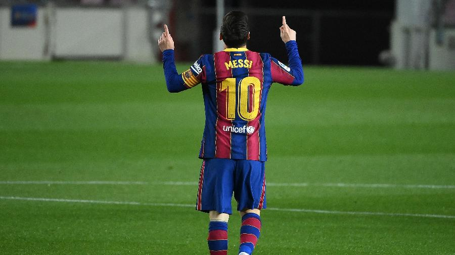 Messi marcou dois gols na partida entre Barcelona e Getafe, no Camp Nou - LLUIS GENE/AFP