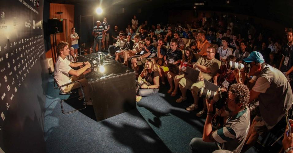 Gustavo Kuerten, o Guga, participa de entrevista coletiva antes do Rio Open 2016