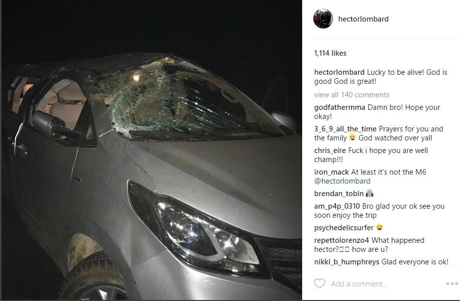Carro de Hector Lombard após acidente