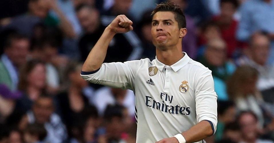 Cristiano Ronaldo comemora o segundo gol do Real sobre o Sevilla