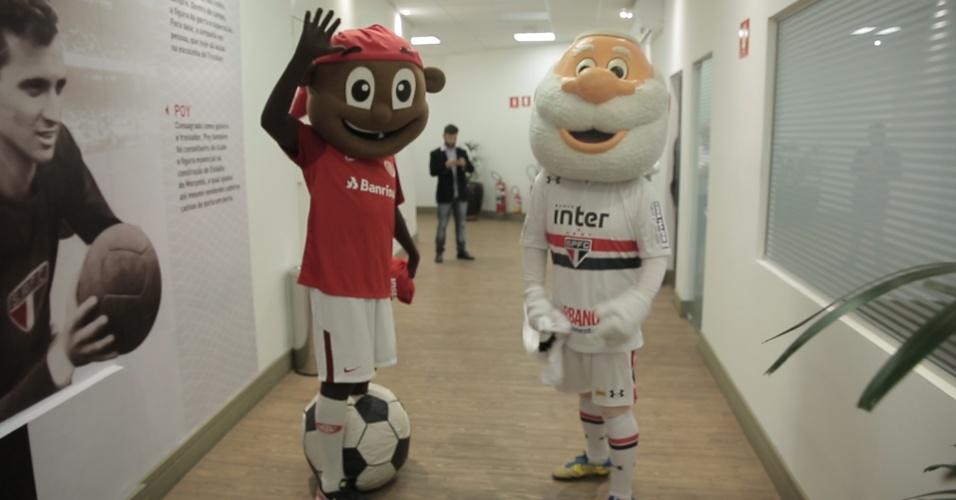Santo Paulo e Saci, mascotes de São Paulo e Internacional, no Morumbi