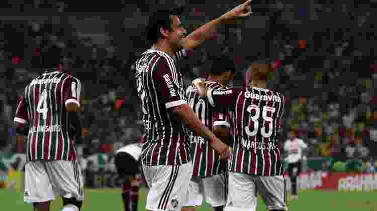 Fred comemora após marcar o primeiro gol do Fluminense contra o São Paulo pelo Campeonato Brasileiro - Nelson Perez/Fluminense FC - Nelson Perez/Fluminense FC