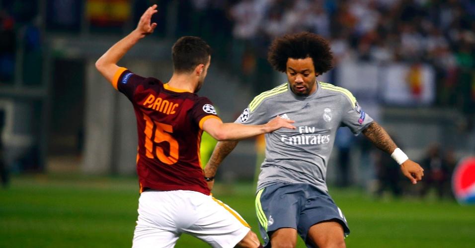 Marcelo divide com Pjanic na partida entre Roma e Real Madrid pela Liga dos Campeões