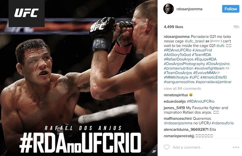 Reprodução Rafael dos Anjos campanha por UFC Rio