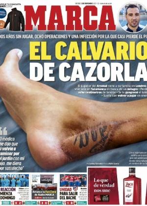 Capa do jornal Marca mostra pele do braço de Cazorla enxertada em seu tornozelo