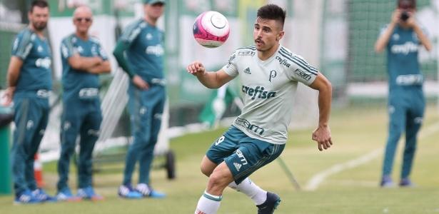 Willian trabalha com bola durante treinamento do Palmeiras neste sábado