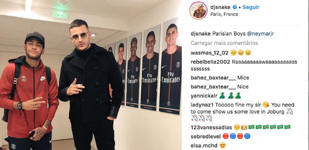 DJ Snake postou foto com Neymar nos vestiários do PSG - Reprodução