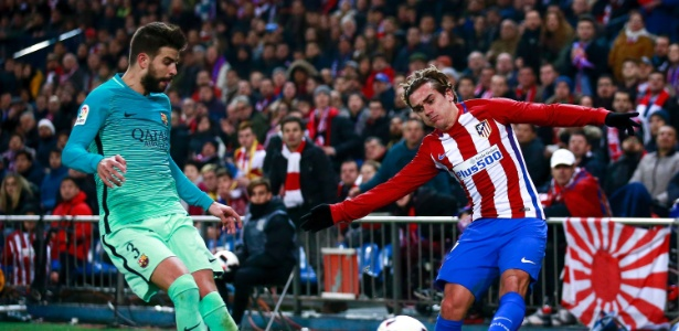 Piqué e Griezmann duelam em jogo entre Barcelona e Atlético de Madrid