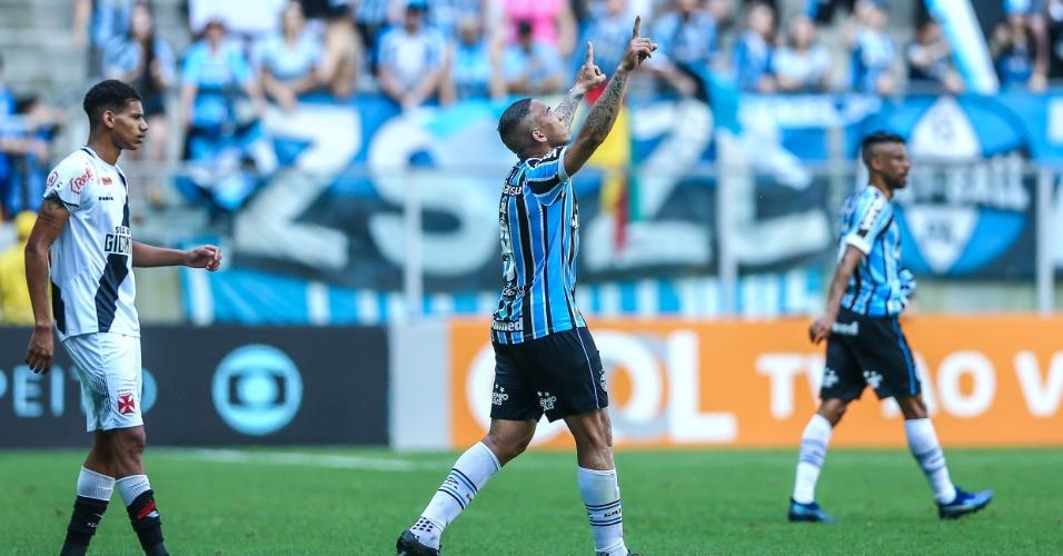 Jael comemora gol do Grêmio em casa diante do Vasco em partida pelo Campeonato Brasileiro 2018