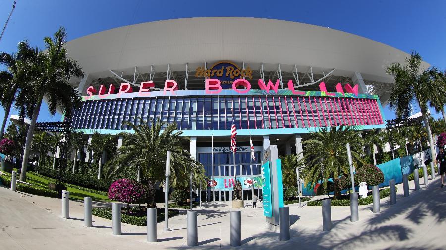 """Palco do Super Bowl da última semana, estádio """"Hard Rock"""", em Miami, receberá alguns jogos da seleção brasileira até 2022 - Icon Sportswire/Getty Images"""